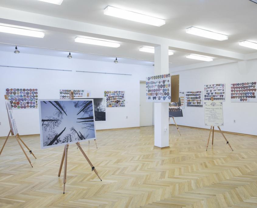 """Galerijski prostor s izložbom """"Vatrogasni amblemi-mali simboli velikih heroja"""""""